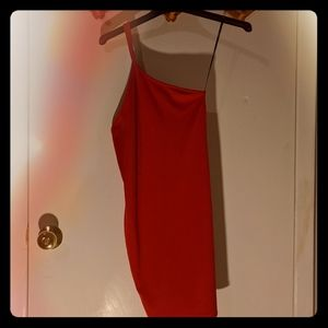 Forever 21 one shoulder red bodycon cami dress
